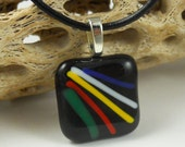 Handmade Square Black multi Stripe Color  Fused Glass Pendant Necklace Jewelry Fashion Accessories Bling A767B4