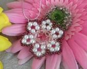 Handmade 6mm lt Pink/Peach Bicones White Swarovski Pearl Beads Swarovski Flower Beaded Sterling Silver Necklace Pendant A423B4