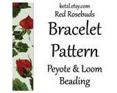 Loom Bead Patterns Loom Bracelet Pattern Loom Beading Patterns and Peyote Stitch Patterns Red Roses Flower with Word Chart Weaving Graph