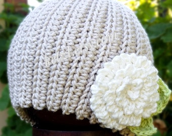 Crochet pattern baby beanie hat with chrysanthemum big flower and leaves in cottage chic pretty shabby girls style photography prop