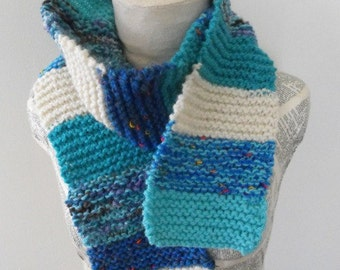 Colorful Hand Knit Scarf for Women,Teenagers Accessory Blue Winter Fun