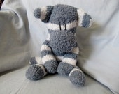 Sockimamy Cash a gray and white striped fuzzy sock monkey, hand stitched, retro monkey, grey, boy monkey, plushie, baby safe, nursery gift