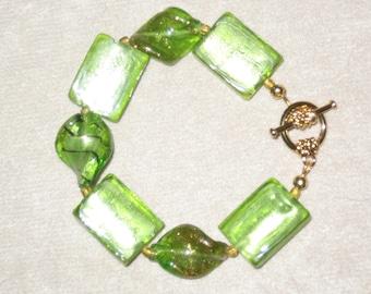 "Lampwork Glass Green & Gold Toggle Bracelet 7 1/2"""