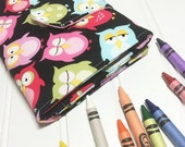 Crayon Wallet - bright owls  Children's Coloring Hip Trendy Toddler Travel - Ready to ship