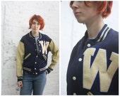 vintage 40s 50s navy blue wool letterman varsity jacket with leather sleeves