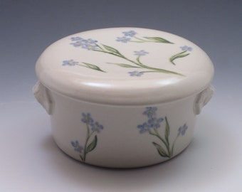 French butter dish, Handthrown porcelain handpainted with forget me nots
