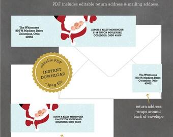 INSTANT DOWNLOAD Printable Holiday Address Label, Santa Address Label