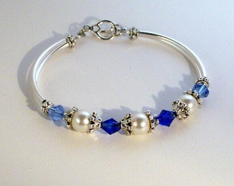 Swaroski Crystal and Pearl Jewelry - Bride or Bridesmaid Bracelet - Any Color