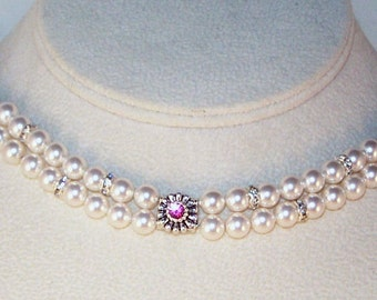 Swarovski Pearl & Crystal Jewelry - Bridal Jewelry - Bride Bridesmaid Maid of Honor - Any Color