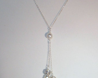Swarovski Pearl & Crystal Jewelry - Shown with Cream/Ivory Pearls - Sterling Silver - Any Color - SHIPS WITHIN 24 Hrs