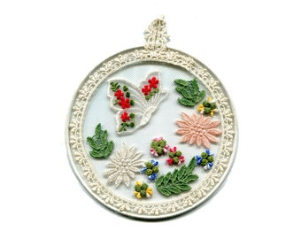 """Vintage Round Lace Butterfly Collage Wall Hanging 6"""" Butterfly and Flowers on Netting Picture in Round Metal Hoop"""