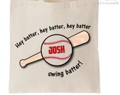 Baseball bag hey batter sports theme personalized tote bag - choose value or heavyweight tote