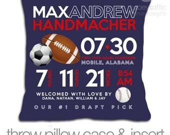 Birth announcement pillow sports new baby gift custom football, baseball, soccer throw pillow with DARK fabric pillowcase