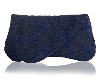 Navy lace ARDEN clutch purse, bridesmaids, mother of the bride
