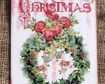 Merry Christmas Wreath Gift or Scrapgbook Tags or Magnet #390