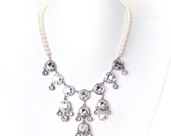 SALE! Rhinestone Bib Necklace - Ivory or White Pearls - Vintage Style - Statement Bridal Necklace -Crystal Bib Necklace