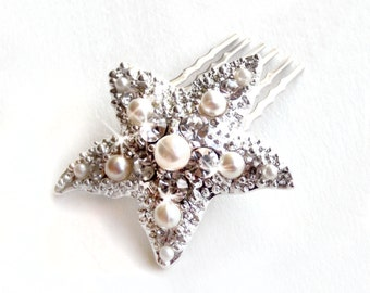 Comb - Silver Pearl Starfish Comb - Pearl and Rhinestone Brooch Hairpiece - Vintage Style Brooch - Silver or Gold - Beach Wedding - Bridal