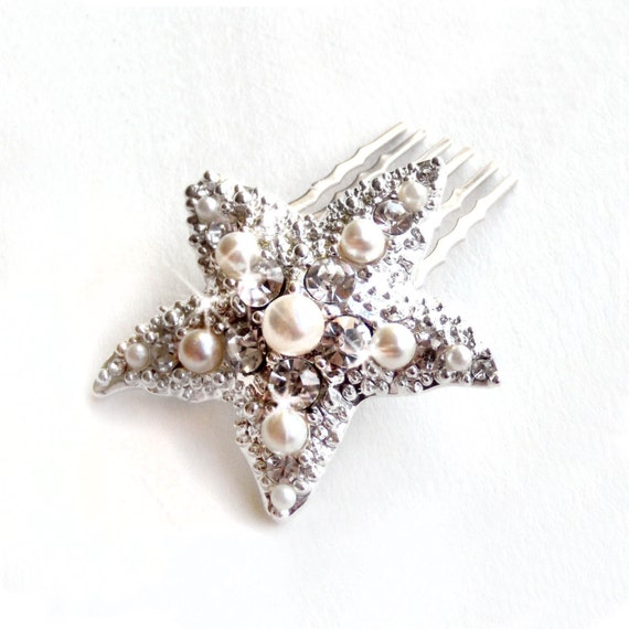 Starfish Comb - Pearl and Rhinestone Brooch Hairpiece - Vintage Style Brooch - Silver or Gold - Beach Wedding - Wedding Comb - Bridal Comb