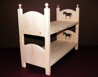 """Stackable American Girl Doll Bunk Bed Two Single Horse Beds 18"""" Doll Furniture"""
