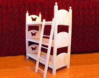 "Stackable Triple Doll Bunk Bed with Ladder 18"" Doll Furniture 22 Design Choices offered Christmas Gift for Daughter Birthday Gift for Girl"
