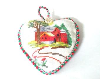 Hand-Embroidered Cross Stitch Lavender Heart Sachet