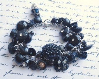 Black Button Charm Bracelet, Handmade Vintage Plastic and Rhinestone Button Bracelet