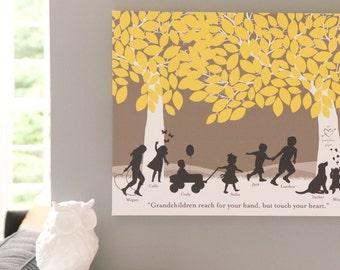 Grandparent Quote, Gift for Grandparents, Grandchildren Art Print- Personalized Print with Grandchildren Silhouettes // H-F05-1PS HH9