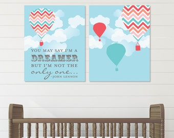John Lennon Imagine, Hot Air Balloon Nursery, Beatles Baby,Baby Nursery Art, Gift for Newborn // Choose Art Print or Canvas // N-G20-2PS AA1