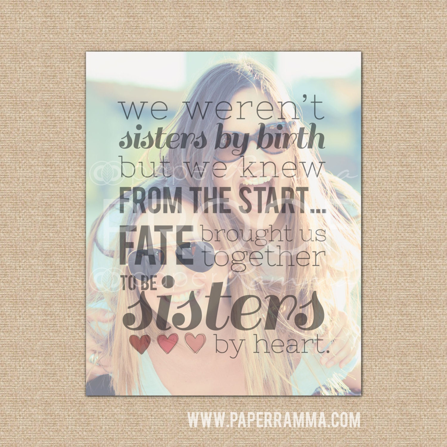 Sisters By Heart Best Friend Birthday Gift Best Friend Gift