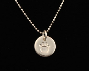 Petite Dog/Cat Paw Necklace - Paw Print - Pure Silver - Delicate Sterling Silver Ball Chain - Artisan Jewelry - ME Designs