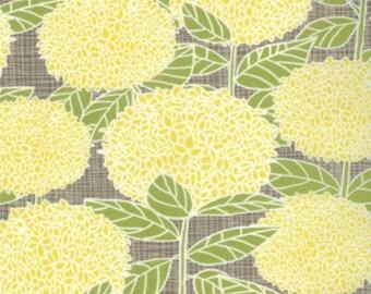 Blue Bird Park Hydrangeas in Yellow and Stone by Kate & Birdie 1/2 Yard