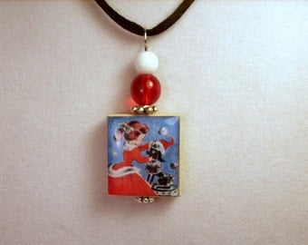 POODLE Jewelry / Christmas Scrabble Pendant / Handmade Unusual Gifts / Necklace with Satin Cord