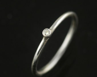 Hand Forged Recycled Silver and Diamond Ring