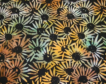 Sunflowers on Batik Cotton Fabric