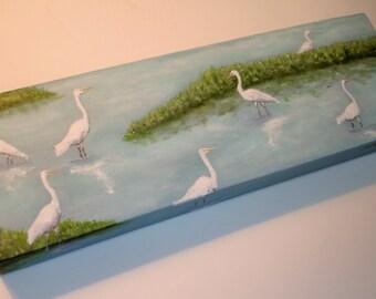 EGRET Painting -THE WADERS - 8x16 original painting -Deep edge canvas - Egrets wading - Nature- Bird art
