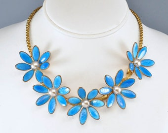 Guilloche Enamel Art Deco Necklace Gold Brass Enamel Flower Vintage 1930s Art Deco Jewelry