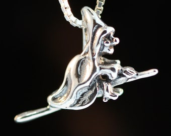 Witch Necklace Silver - Witch Charm Witch Pendant - Halloween Jewelry Halloween Charm Halloween Necklace Halloween Pendant Wicked Witch