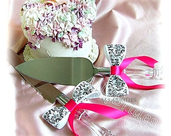 Madison Damask Wedding cake cutting set, Wedding Table Settings, Custom Satin Ribbon Colors