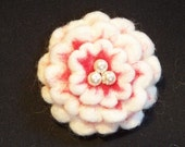 Needle Felted Flower in Red and White Floral Your choice fo Pin Back, Barrette, or Pony Tail Elastic
