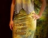 Green forest  wrap skirt wearable batik art top and skirt size medium
