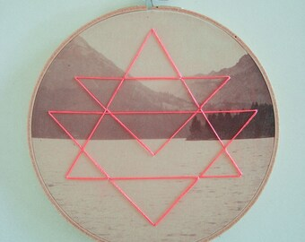Embroidered Geometric on Found Vintage Photograph Fabric Hoop