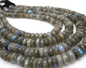Labradorite Beads, Labradorite Rondelles, Smooth Rondelles, Roundels, Gray Gemstone Beads, Loveofjewelry, SKU 4253A