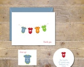 Baby Thank You Cards . Baby Shower Thank You Cards . Baby Shower Thank You Notes . Thank You Cards Baby . Clothesline  - Baby Boy Onesies