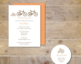Bike Baby Shower Invitations . Baby Shower Invitations . Baby Shower Invites . Baby Girl . Baby Boy. Gender Neutral - Baby Makes Three
