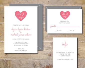Monogram Wedding Invitations . Heart Wedding Invites . Monogram Invitations  . Modern Wedding Invitations . Heart