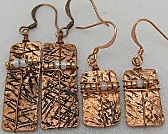 Copper Dangle Earrings, Rectangle Earrings. Wire wrapped Earrings.