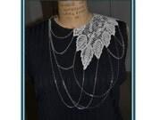 Unique romantic lace chain necklace white / steampunk lace ivory off white