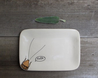 HELLO cockroach tray, rustic spring home decor, brown and white insect dish, April fool's day gift