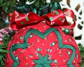 Quilted Ornaments Quilt Ball Ornaments Handmade Red Green Roses Berries Holly Jingle Bell Charms Beaded Hanger