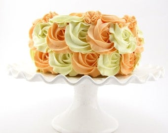 """Rosette Fake Cake Peach and Cream Frosting Approx. 7.75""""w x 4.25""""h Fab Photo Prop, First Birthday Decor, Shabby Chic Decor"""